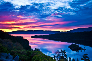 Lake-tahoe-sunrise-over-emerald-bay-with-clouds-photo